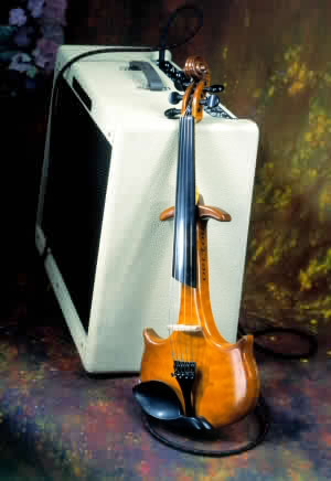 Photo of electric violin and amplifier